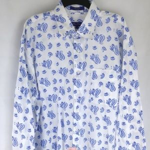 Alan Flusser Paisley Blue/ White Dress Shirt